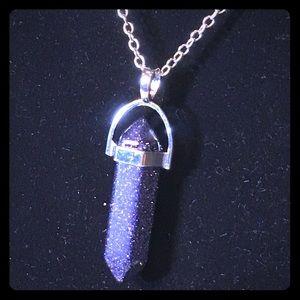 Sparkling Purple Pillar Pendant Charm Necklace